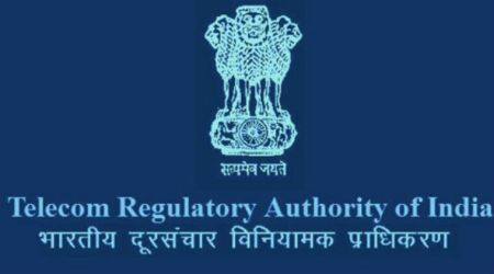TRAI India logo in dark blue background