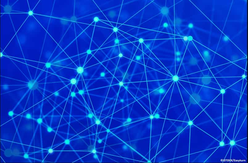 Blockchain and artificial intelligence in dark blue background