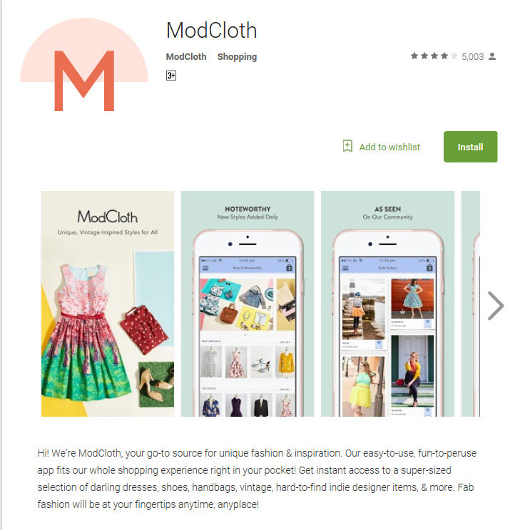 ModCloth app playstore