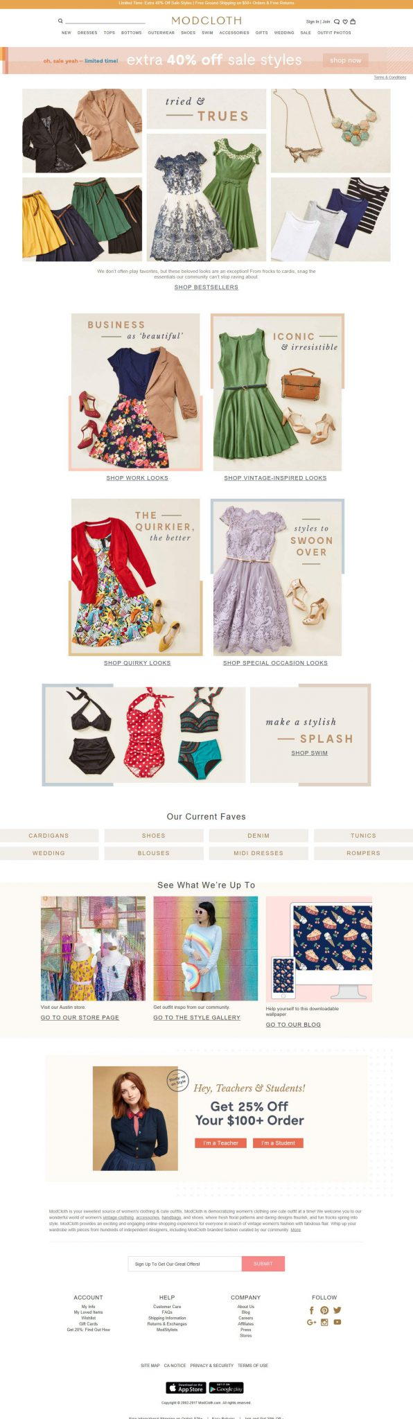 Modcloth different dresses eCommerce website for females