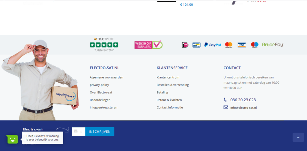 Electrosat help, services and contact page